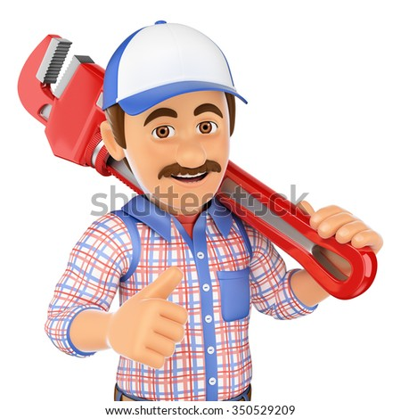 3d working people. Plumber with a pipe wrench. Isolated white background. - stock photo