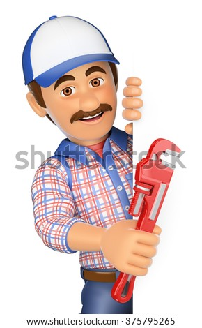 3d working people. Plumber with a pipe wrench pointing aside. Blank space. Isolated white background. - stock photo