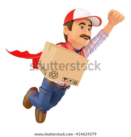 3d working people. Super Delivery man with a box. Isolated white background. - stock photo