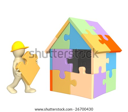 3d working puppet building the house - stock photo