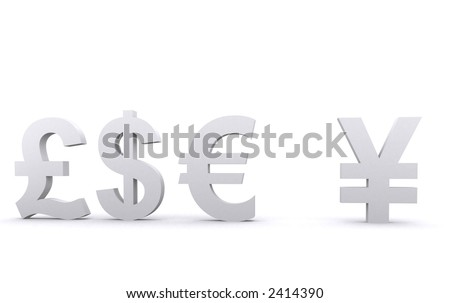 3d world currencies over a white background - stock photo