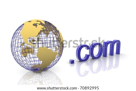 3d world dot com on a white background - stock photo