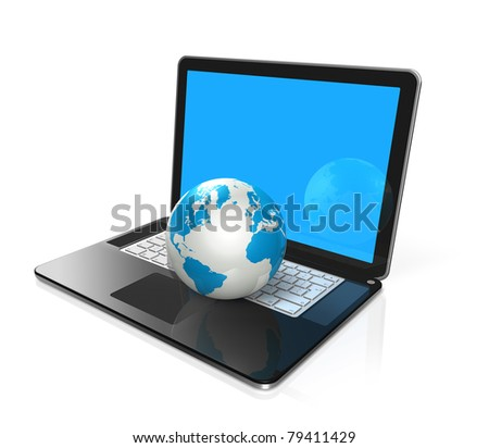 3D world globe, map on a laptop computer isolated on white with clipping path - stock photo