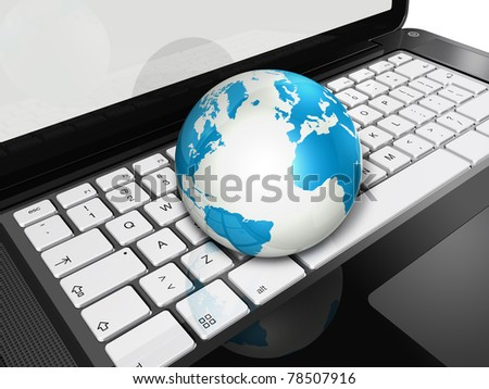 3D world globe on a laptop computer