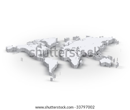3d world map - stock photo