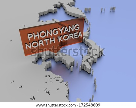 3d world map illustration - Phongyang, North Korea - stock photo