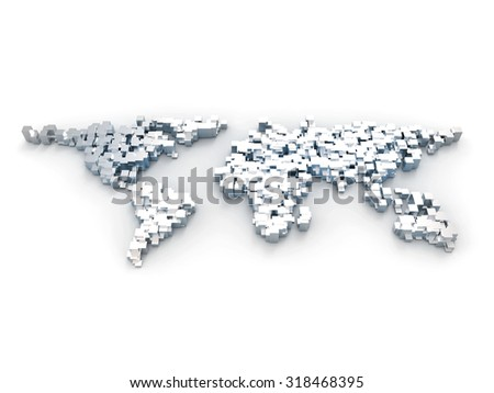 3d world map made out of blocks - stock photo