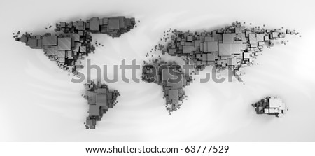 3d world map rendering out of blocks - stock photo