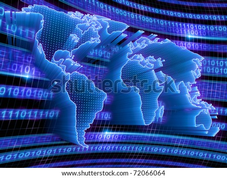 3D World Map with binary code, dots and lights representing the digital world. Concept of digital technology around the world. - stock photo