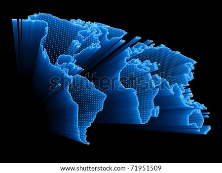 3D World Map with dots and lights representing the digital world. Concept of digital technology around the world. - stock photo