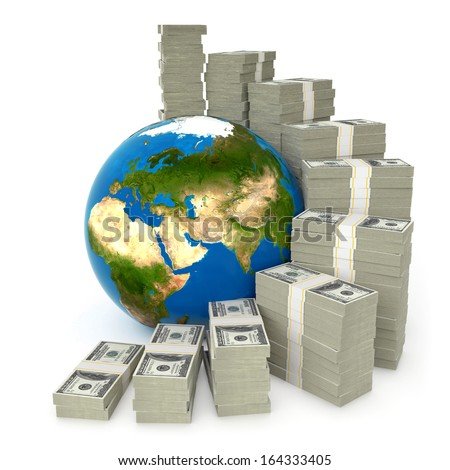 3d world of money concept, isolated on white background, Elements of this image furnished by NASA - stock photo