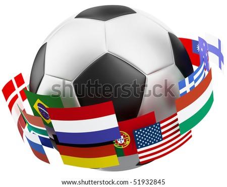 3d world soccer ball. - stock photo
