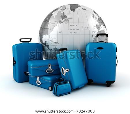3d world wide tourism concept - stock photo