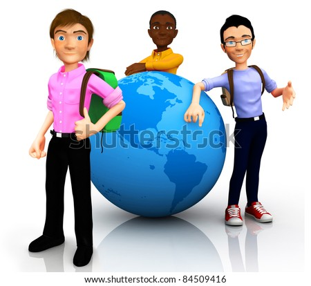 3D worldwide travelers with the globe and a backpack ? isolated - stock photo