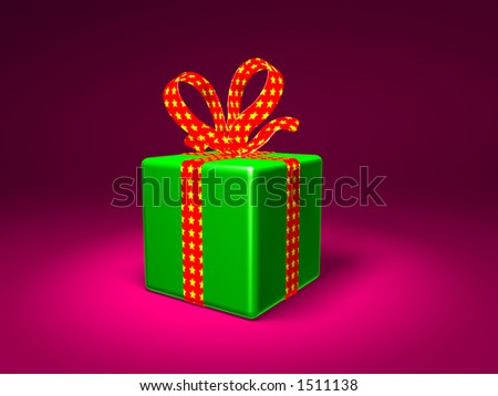 3D wrapped gift - stock photo