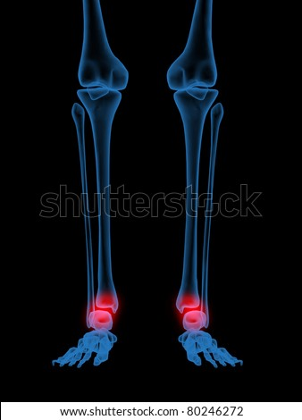3d X-Ray illustration of Human ankle in red