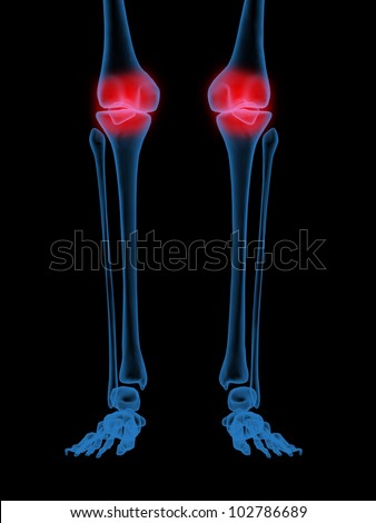 3d X-Ray illustration of Human knee in red on black background