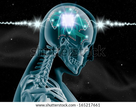 3D X-ray of human brain with computer chip and circuit on star and galaxy background - stock photo