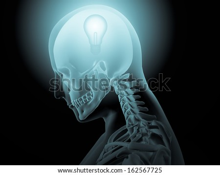 3d x-ray of human head with light bulb in a brain - stock photo