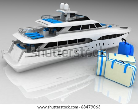 3d yacht and luggage from suitcases on a white background - stock photo