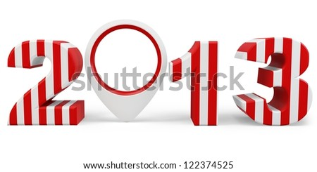 3d year 2013 and interest point on white background