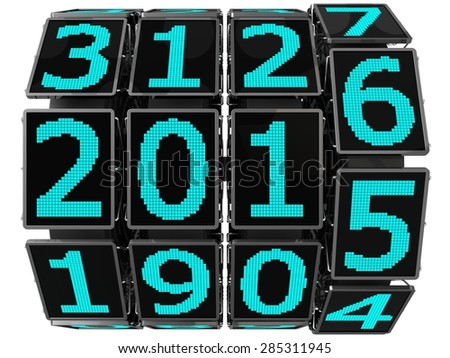 3d year counter mechanism with LCD screens  (hi tech mechanics.in action version) - stock photo