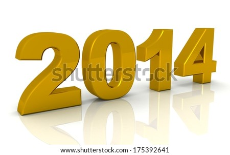 3d year 2014 on a white background - stock photo