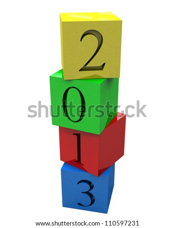 3D 2013 year on colored cubes - stock photo
