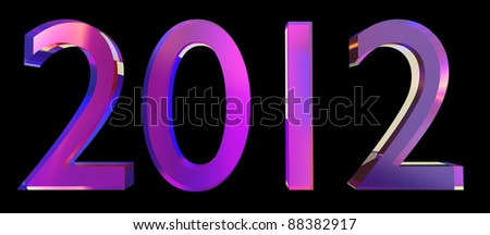 2012 3d year on the black background - stock photo