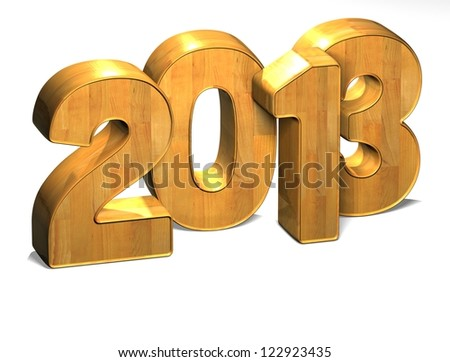 3D Year 2013 on white background