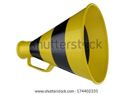 3D Yellow and Black Bullhorn. 3D Yellow and Black Megaphone. - stock photo