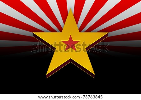 3D Yellow and Red Star on a Red and White Background - stock photo