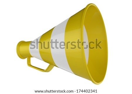 3D Yellow and White Bullhorn. 3D Yellow and White Megaphone. - stock photo