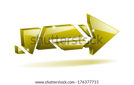 3D yellow broken arrow pointer with reflection (raster version, available as vector too) - stock photo