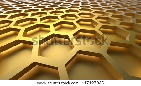 3D yellow color abstract cellular lattice background - stock photo
