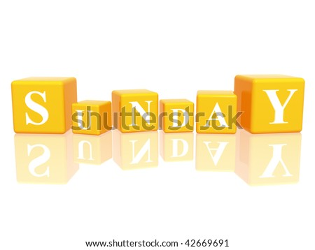3d yellow cubes with letters makes sunday - stock photo