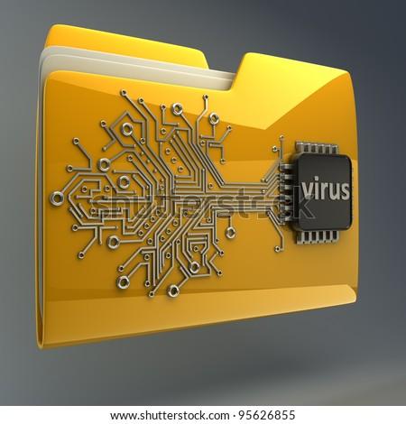 3D Yellow folder Computer microchip High resolution - stock photo