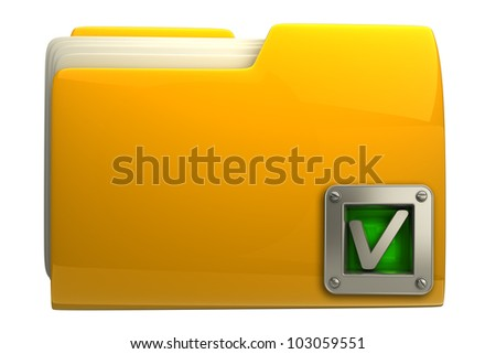 3d yellow folder with green check mark isolated on white background High resolution