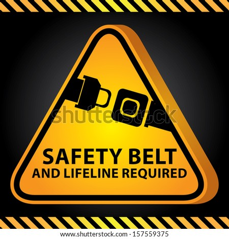 3D Yellow Glossy Style Triangle Caution Plate For Safety Present By Safety Belt And Lifeline Required With Seat Belt or Safety Belt Sign in Dark Background  - stock photo