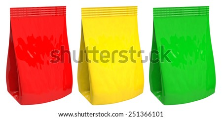 3D yellow, green, red bag package on a white background - stock photo