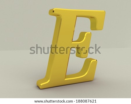 3d yellow letter e isolated white background  - stock photo