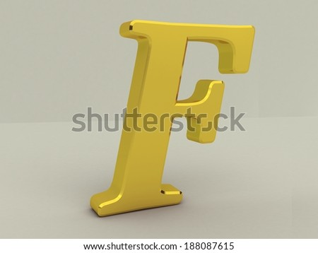 3d yellow letter f isolated white background  - stock photo