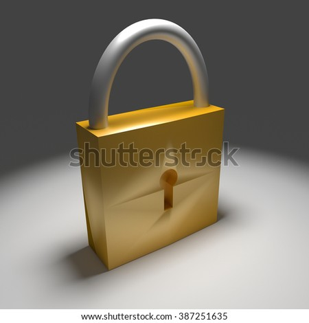 3d yellow lock isolated on grey background