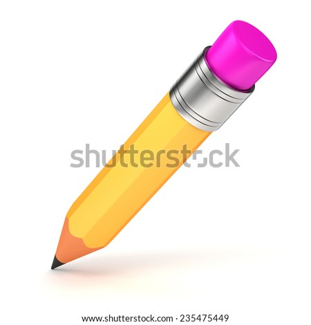 3d yellow pencil on white background - stock photo