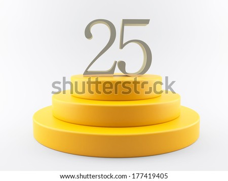 3d yellow podium with text 25 on top - stock photo