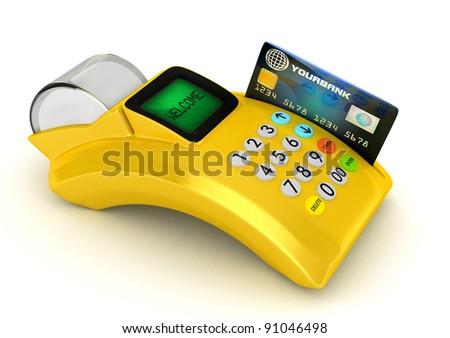 3D  Yellow POS-terminal with credit card - stock photo