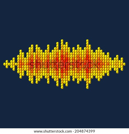 3D yellow sound waveform made of cube pixels - stock photo