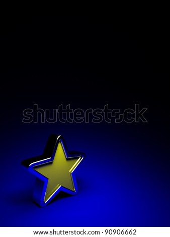 3d yellow star on a dark blue background - stock photo