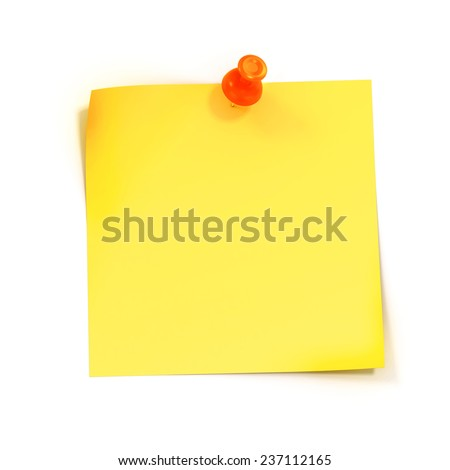 3d yellow stick ynote on white background - stock photo