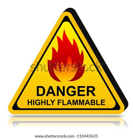 3d Yellow Triangle Danger LPG Highly Flammable Sign Isolated on White Background - stock photo